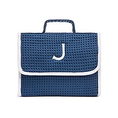 Women's Personalized Stand Up Cotton Waffle Makeup Bag- Navy