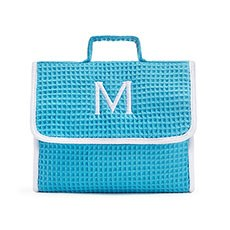 Women's Personalized Stand Up Cotton Waffle Makeup Bag- Turquoise Blue