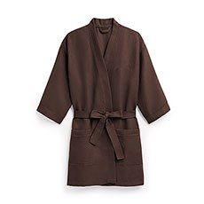 Women's Personalized Embroidered Waffle Spa Robe- Chocolate Brown