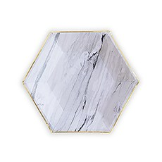 Gold & Marble Hexagon Party Plates - Small