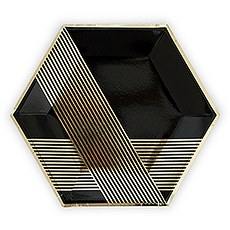 Black & Gold Hexagon Party Plates - Large