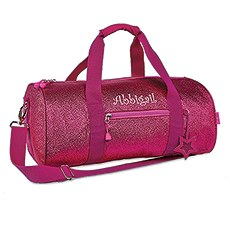 Personalized Kids Glitter Duffle Bag - Pink