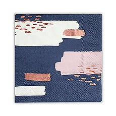 Navy Brush Stroke Cocktail Napkins - Small