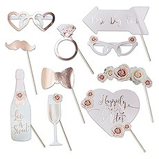 Fun Wedding Photo Booth Props on a Stick - Blush Floral