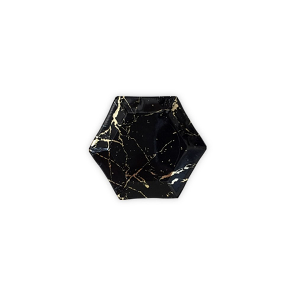 Black Marble & Gold Party Plates - Mini
