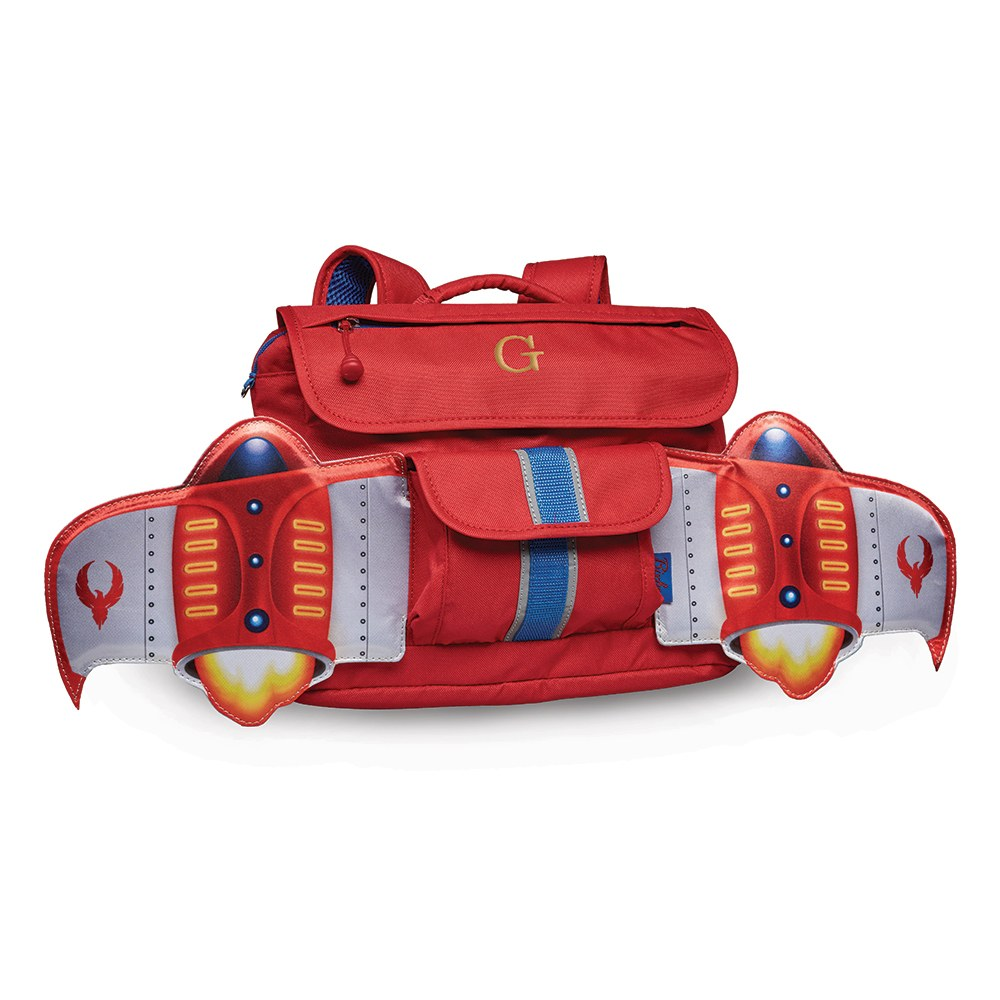 Small Personalized Kids Backpack - Red Rocket