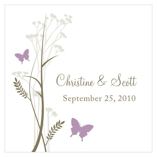 Romantic Butterfly Square Wedding Favor Tag