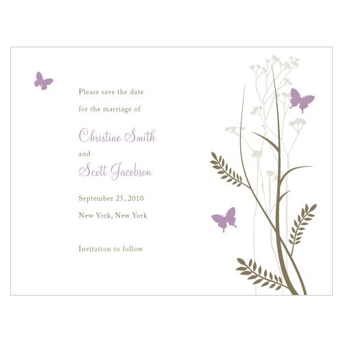 Romantic Butterfly Wedding Save The Date Card