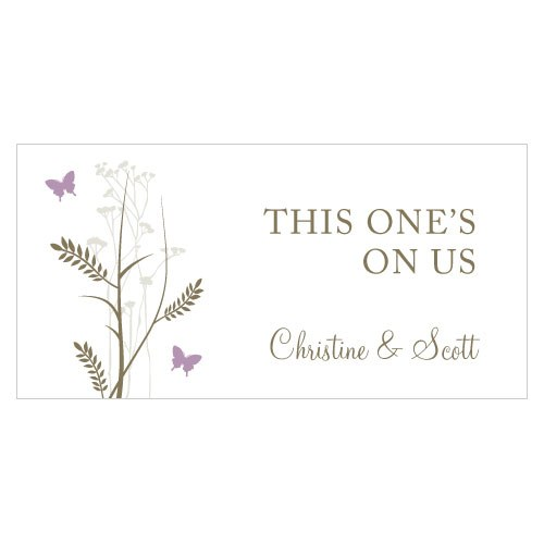 Romantic Butterfly Small Wedding Reception Drink Ticket