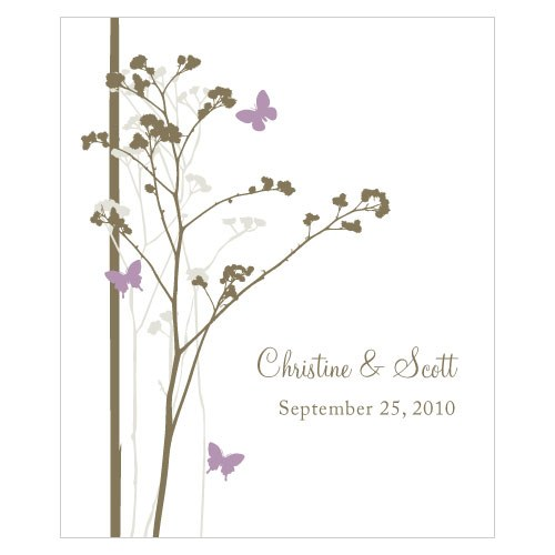 Romantic Butterfly Rectangular Wedding Favor Label