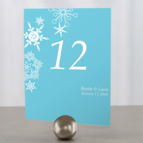 Winter Finery Wedding Reception Table Number Card