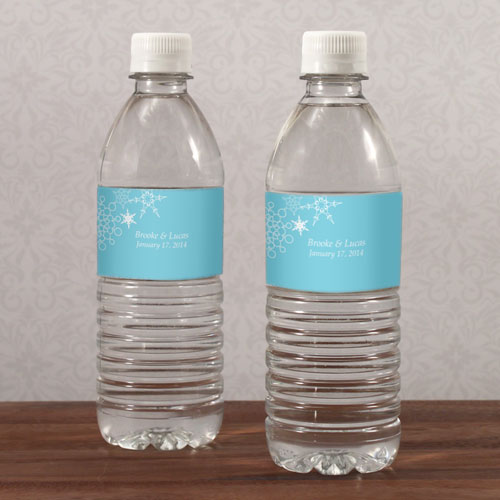 Winter Finery Wedding Water Bottle Label