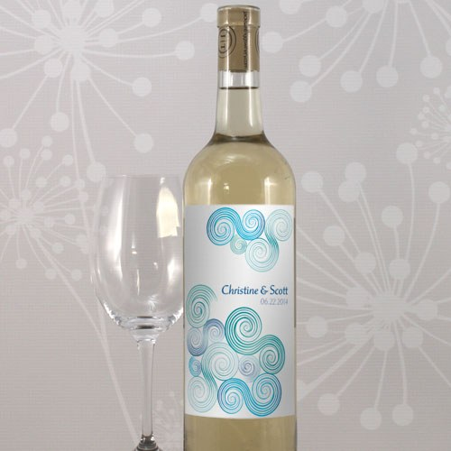 Sea Breeze Wedding Wine Bottle Label