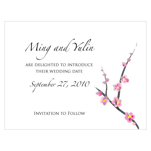 Cherry Blossom Wedding Save The Date Card