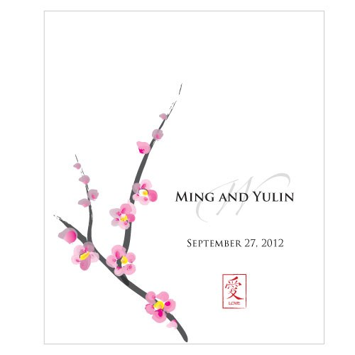 Cherry Blossom Rectangular Wedding Favor Label
