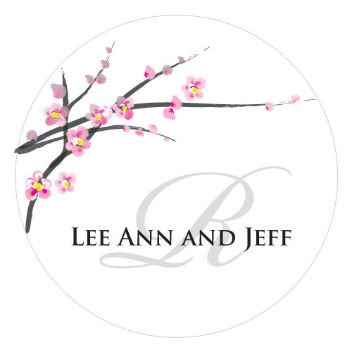 Cherry Blossom Large Wedding Favor Sticker