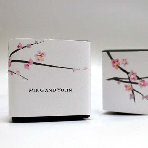Cherry Blossom Wedding Favor Box Wrap