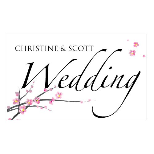Cherry Blossom Wedding Reception and Ceremony Road Signs