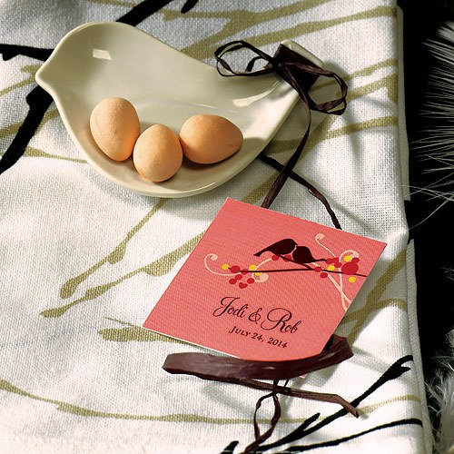 love bird square wedding tag stationery