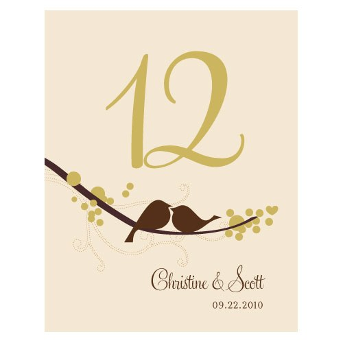 love bird wedding reception table number card