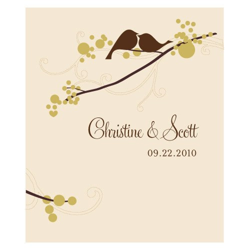 love bird rectangular label wedding stationery