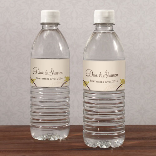 love bird wedding water bottle label stationery