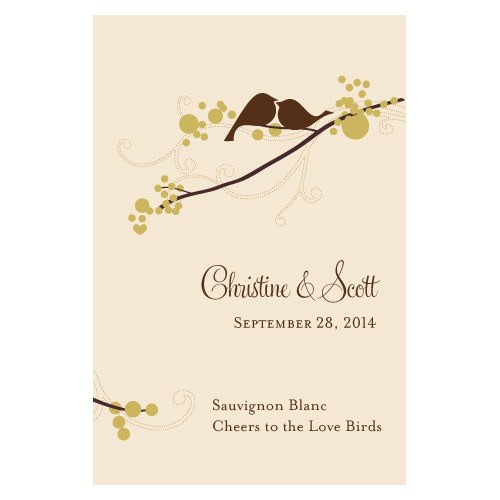 love bird wedding stationery wine bottle label