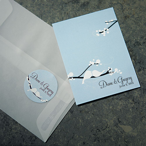 love bird small wedding sticker stationery