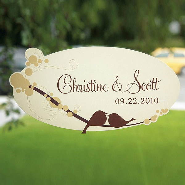 love bird small wedding cling stationery