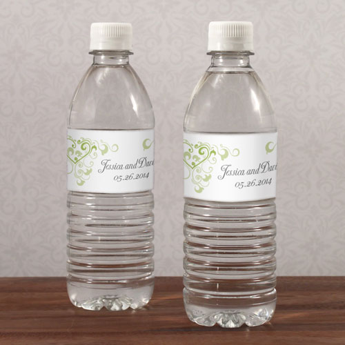 Heart Filigree Water Bottle Labels