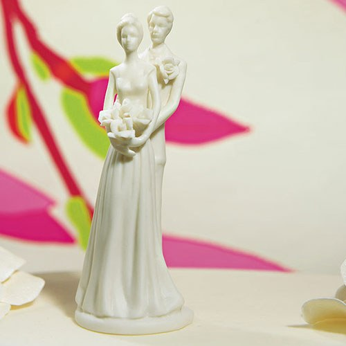 Porcelain Contemporary Bride and Groom Wedding Cake topper