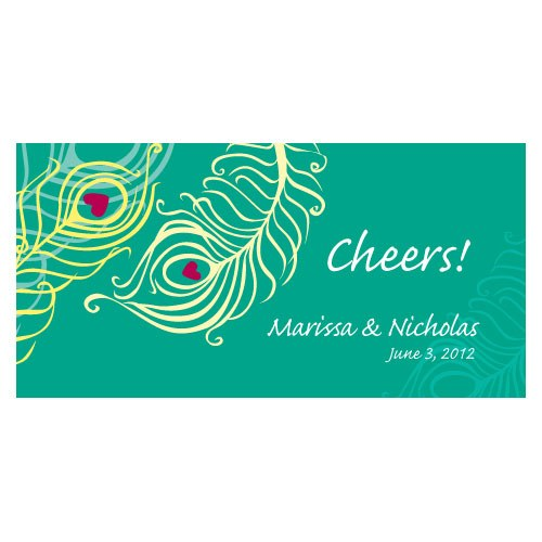 Perfect Peacock Small Wedding Reception Drink Ticket