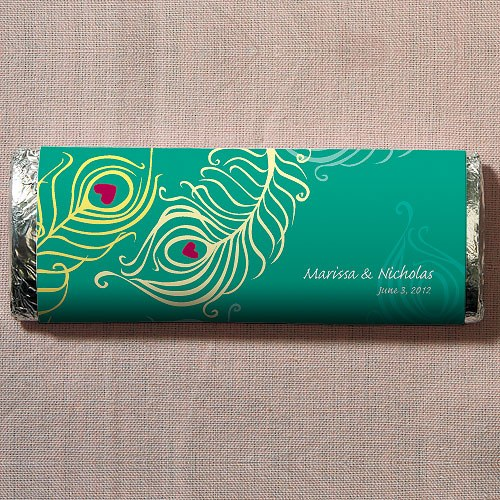 Perfect Peacock Chocolate Bar Wedding Favor