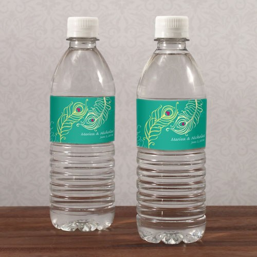 Perfect Peacock Wedding Water Bottle Wrap