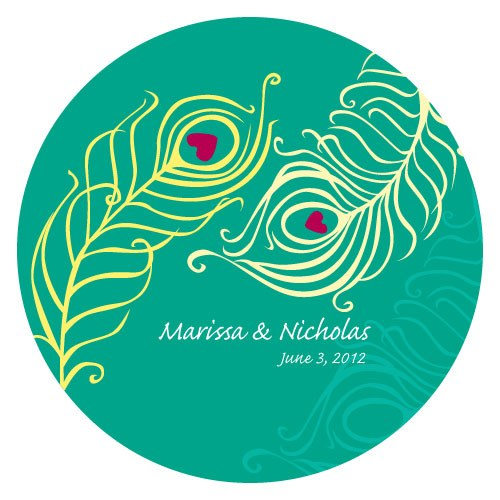 Perfect Peacock Small Wedding Favor Sticker