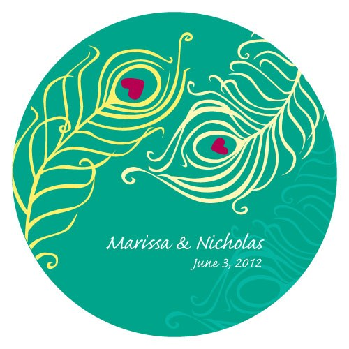 Perfect Peacock Large Wedding Favor Sticker
