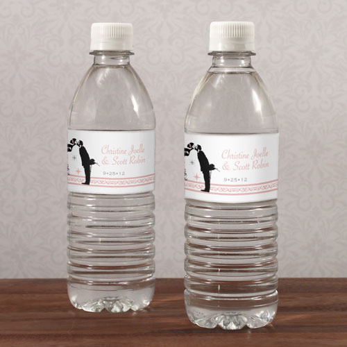 Vintage Hollywood Wedding Water Bottle Label
