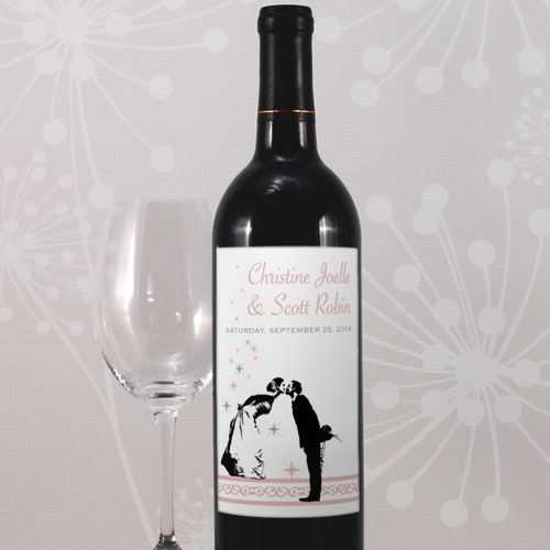 Vintage Hollywood Wedding Wine Bottle Label