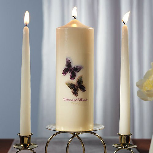 Beautiful Butterflies Personalized Unity  Candle