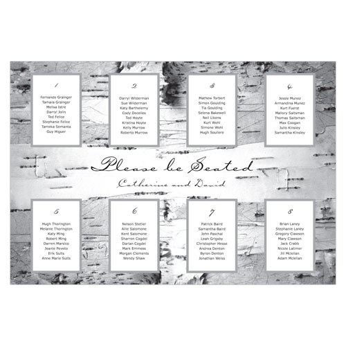 Birch Wedding Table Seating Chart