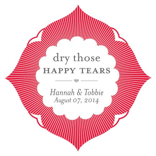 Dry Those Happy Tears Wedding Favor Sticker