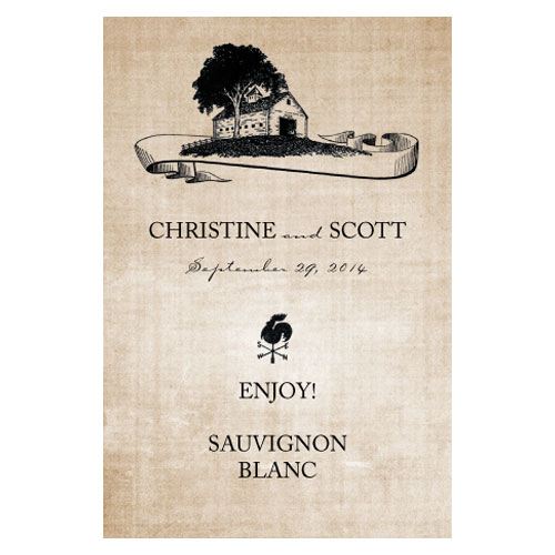 Rustic Country Wedding Wine Label