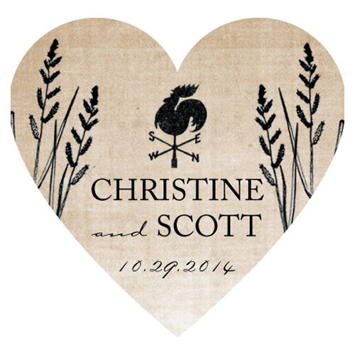 Rustic Country Wedding Heart Sticker