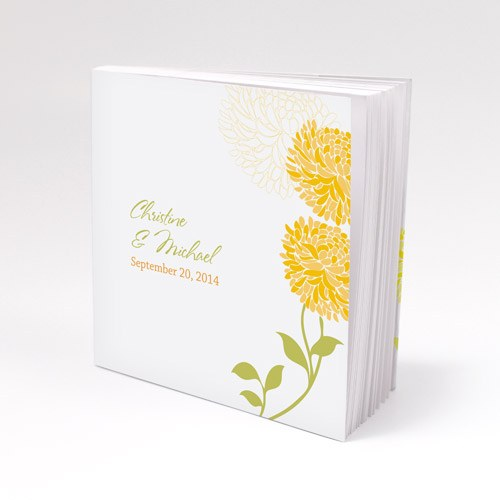 Zinnia Bloom Personalized Book Style Wedding Favor Notepad