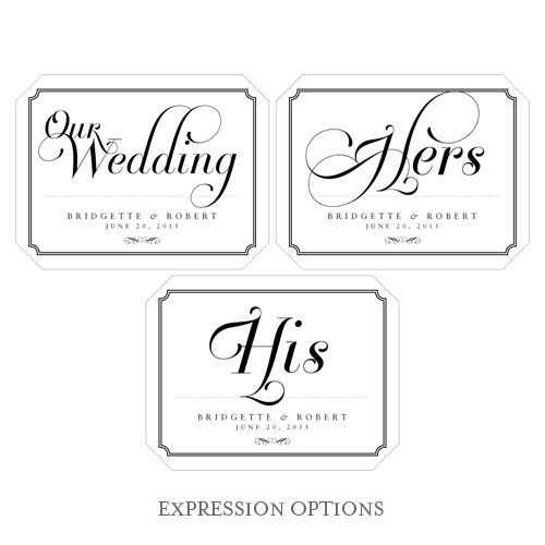 Expressions Wedding Die Cut Sign Label