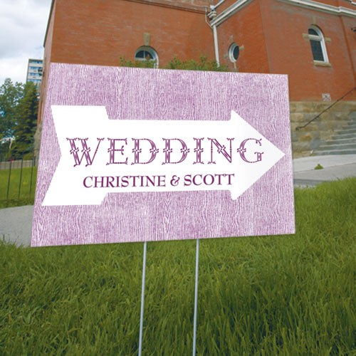 Pointing Arrow Wedding Reception and Ceremony Directional Road Signs