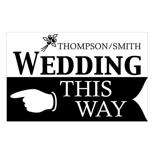 Wedding This Way Wedding Reception and Ceremony Directional Road Signs