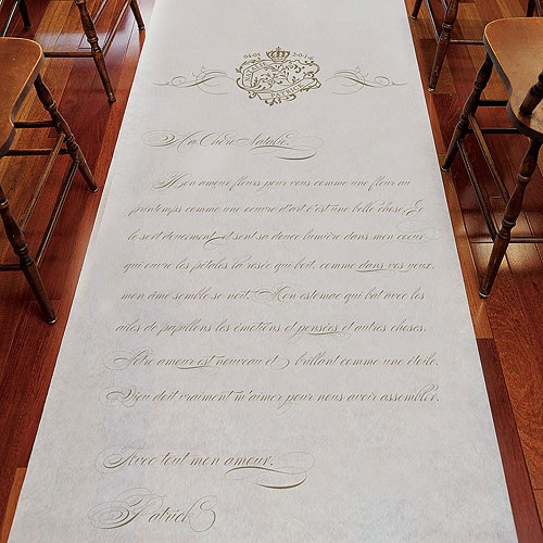 Parisian Love Letter Personalized Wedding Aisle Runner