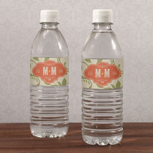 Vineyard Wedding Water Bottle Label
