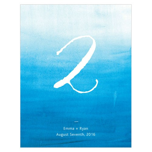 Aqueous Wedding Table Number